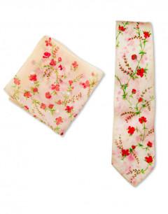 FLORAL - Corbata de seda pintada a mano - Diseño único