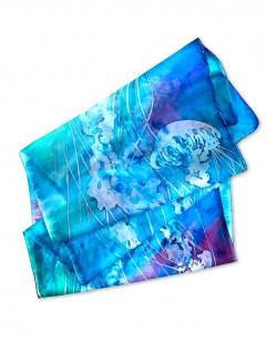 Medusas - Pañuelo de seda pintado a mano