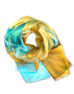 Nacimiento de Venus - Pañuelo de seda natural pintado a mano