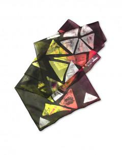 Ocaso geométrico  - Pañuelo de seda pintado a mano