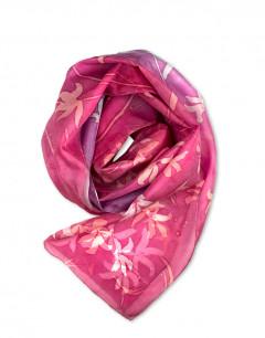Pink Flowers - Pañuelo de seda natural pintado a mano