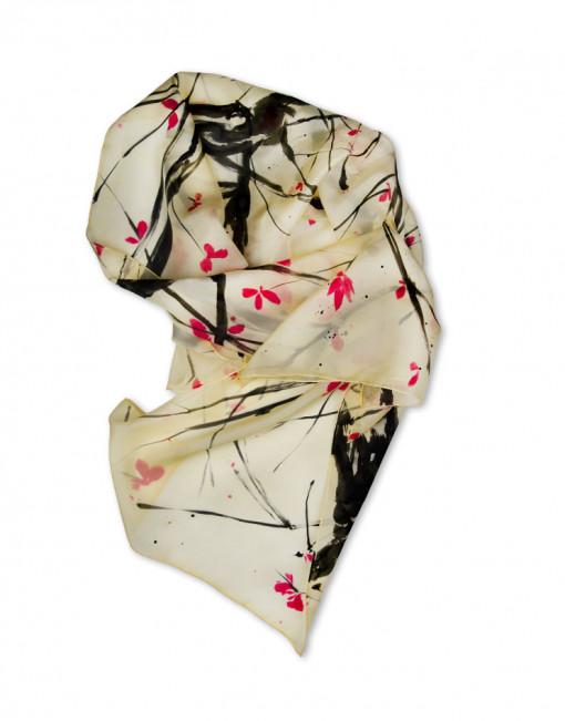 CEREZO SUMI-E - Pañuelo de seda pintado a mano - Diseño único