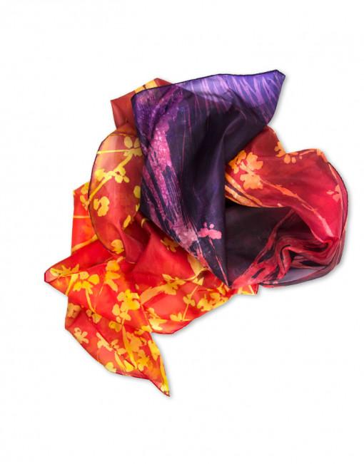 Ocaso primaveral - Pañuelo de seda pintado a mano - Diseño único