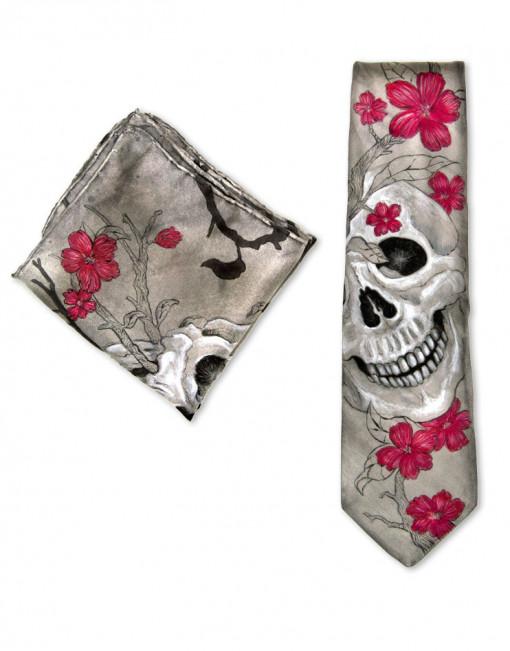 Mexican Skull - Corbata y pañuelo de bolsillo de seda pintado a mano
