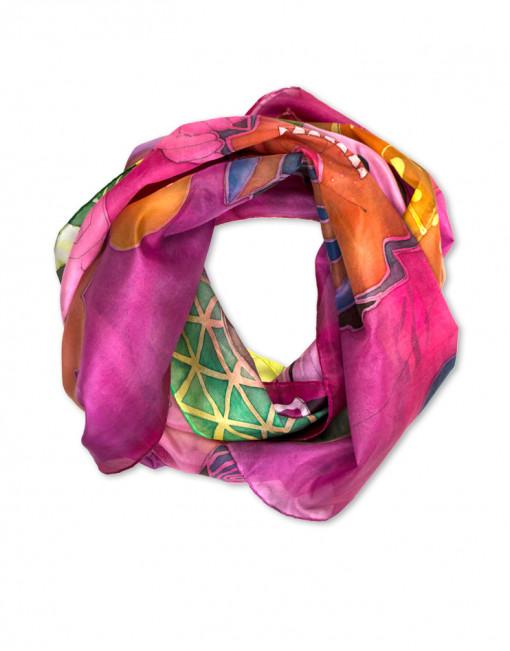 Circus - Pañuelo de seda natural pintado a mano