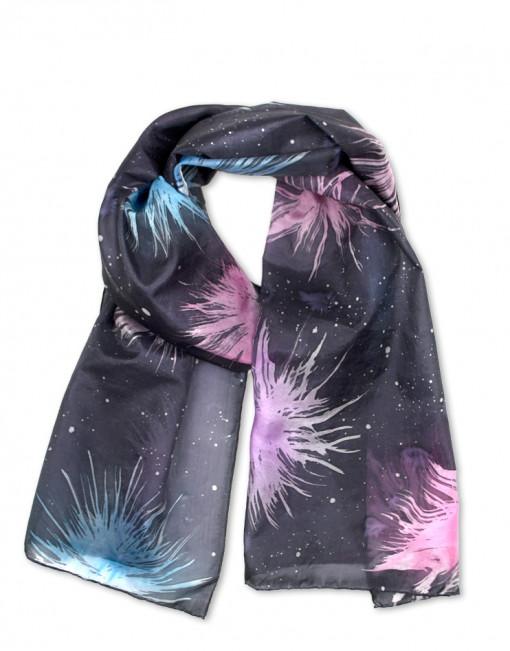 Fireworks  - Pañuelo de seda natural pintado a mano