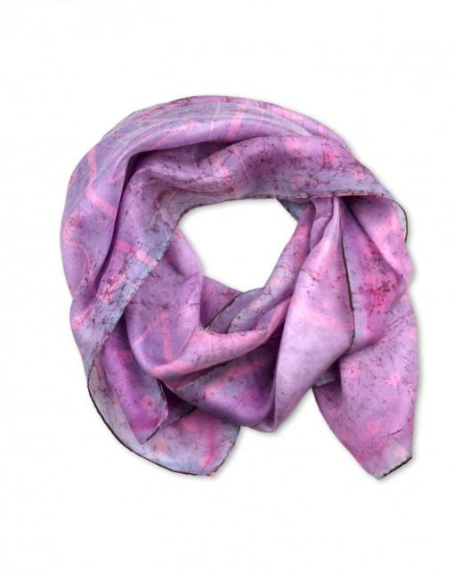 Marmol Rosa - Pañuelo de seda pintado a mano