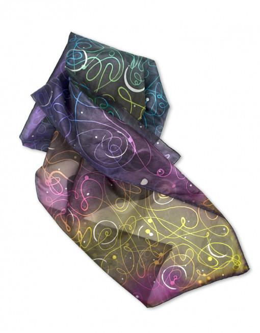 Space - Pañuelo de seda natural pintado a mano