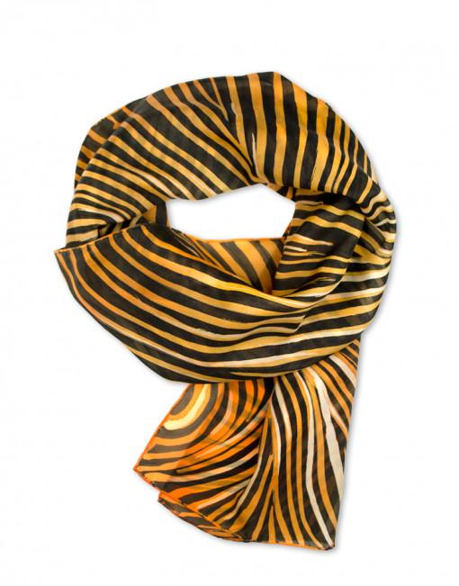 Tigre - Pañuelo de seda natural pintada a mano