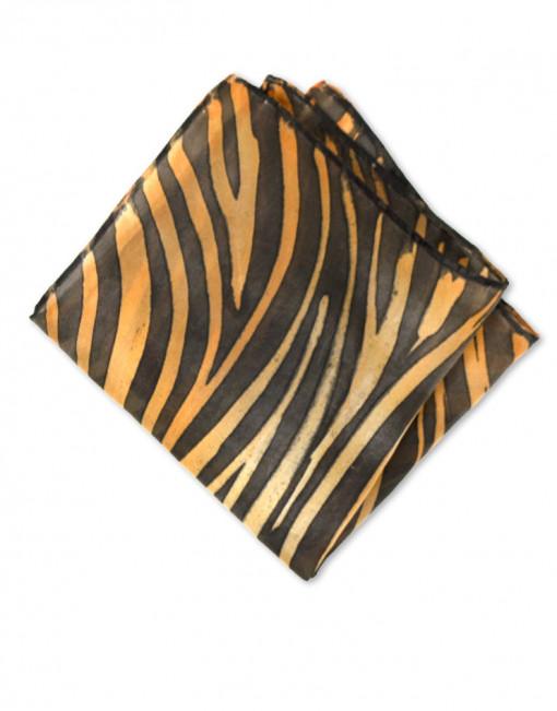 Tigre - Pañuelo de seda bolsillo pintado a mano