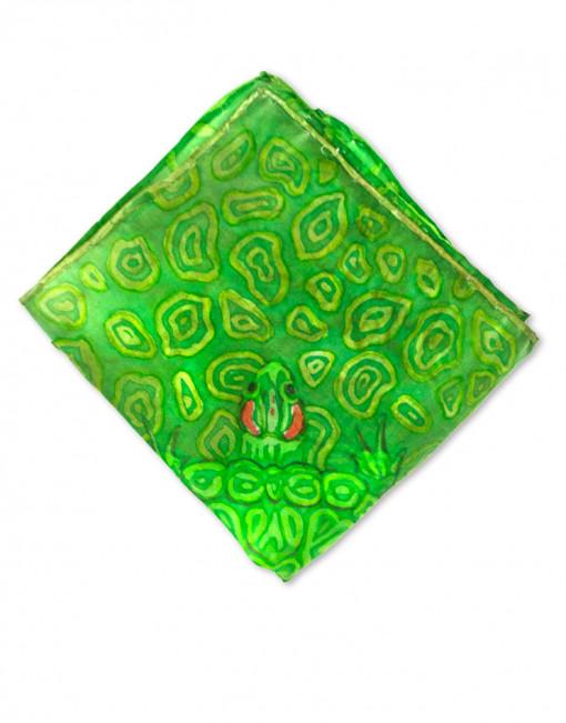 Turtle - Pañuelo de seda bolsillo pintado a mano