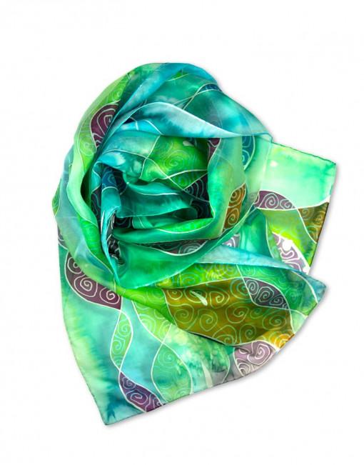 Vidriera  - Pañuelo de seda pintado a mano