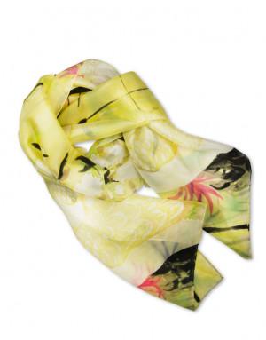 Grullas - Pañuelo de seda pintado a mano