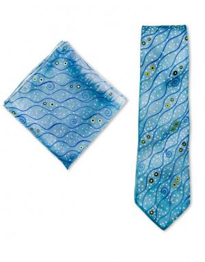 Klimt - Corbata y pañuelo de bolsillo de seda pintado a mano