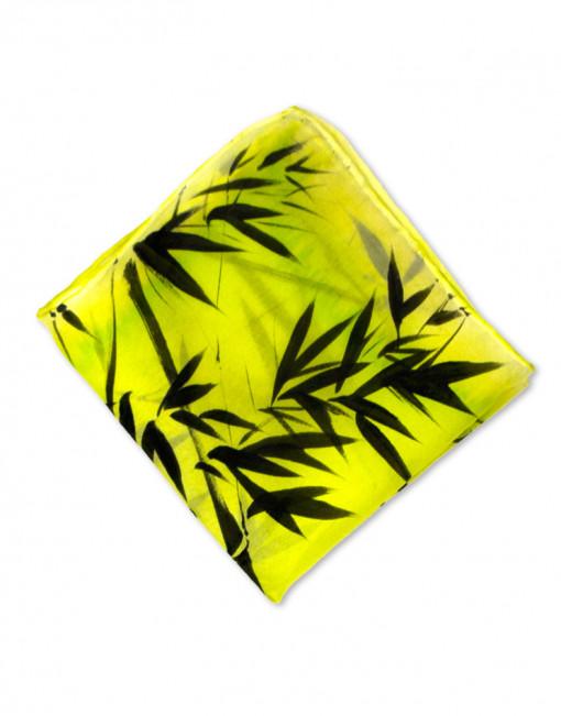 Bambú - Pañuelo de seda bolsillo pintado a mano