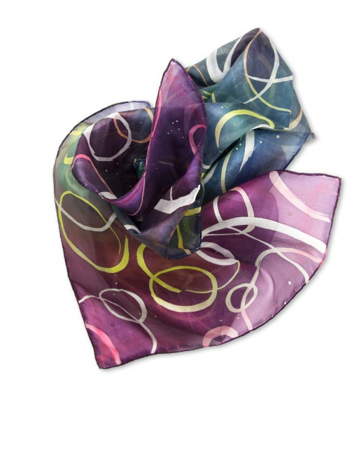 Burbujas  - Pañuelo de seda pintado a mano