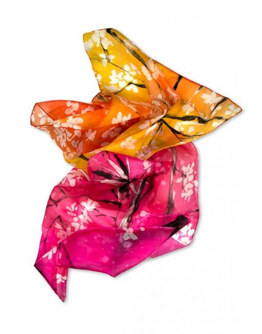 Cherry tree - Pañuelo de seda pintado a mano