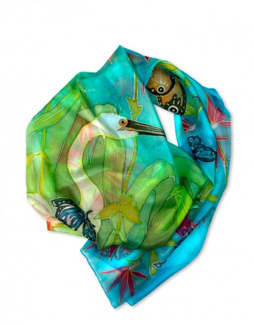 Ecosistema - Pañuelo de seda natural pintado a mano
