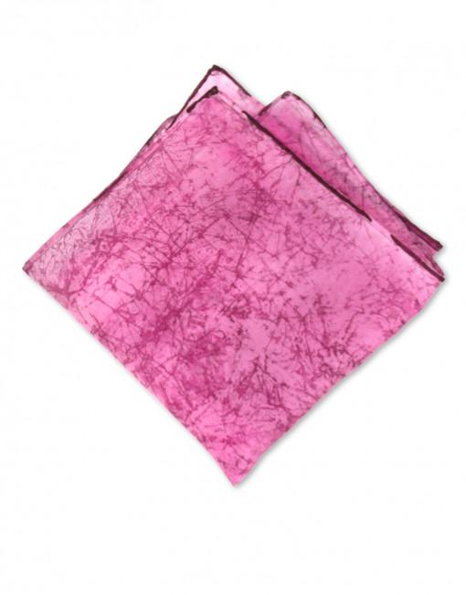 Pink Marble - Pañuelo de seda bolsillo pintado a mano