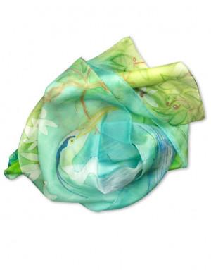 Garza  - Pañuelo de seda pintado a mano