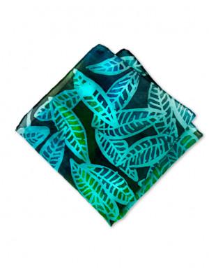 Hojarasca - Pañuelo de seda de bolsillo pintadoa mano