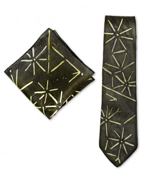 Asian Stars - Corbata y pañuelo de bolsillo de seda pintado a mano