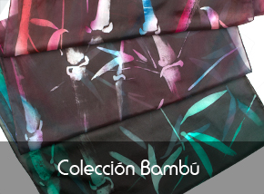 Descubre nuestra colección bambú de pañuelos de seda pintados a mano